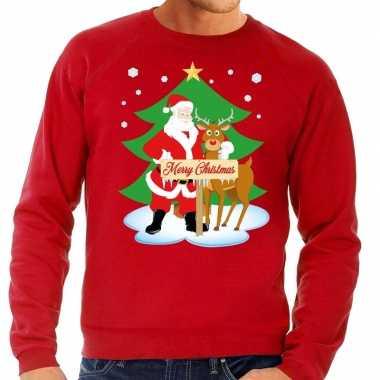 Feestwinkel | foute kersttrui rood met de kerstman en rudolf voor her