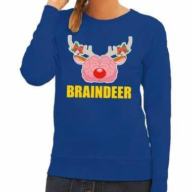 Feestwinkel   foute kersttrui / sweater braindeer blauw voor dames mo