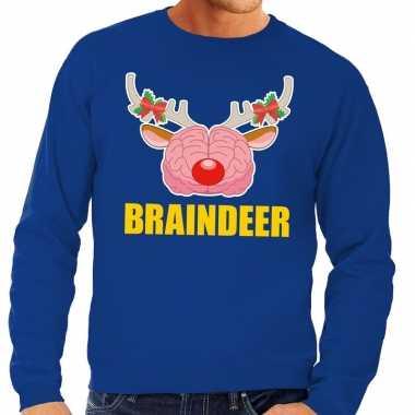 Feestwinkel | foute kersttrui / sweater braindeer blauw voor heren mo