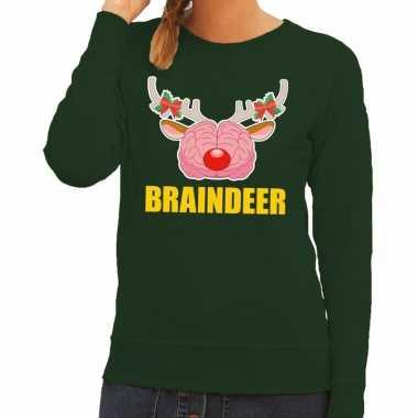 Feestwinkel | foute kersttrui / sweater braindeer groen voor dames mo