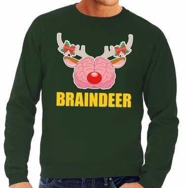 Feestwinkel | foute kersttrui / sweater braindeer groen voor heren mo
