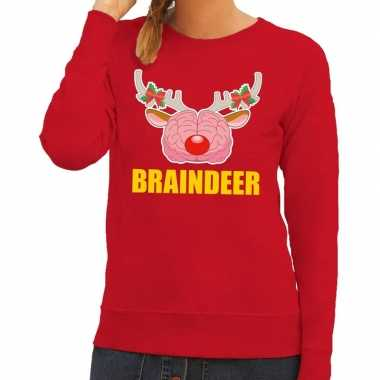 Feestwinkel | foute kersttrui / sweater braindeer rood voor dames mor