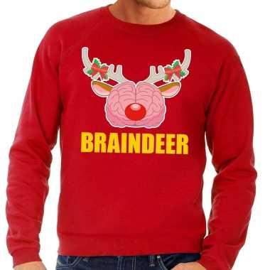 Feestwinkel   foute kersttrui / sweater braindeer rood voor heren mor