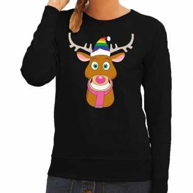 Feestwinkel | foute kersttrui zwart gay ruldolf regenboog muts en roz