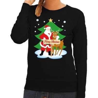 Feestwinkel | foute kersttrui zwart met de kerstman en rudolf voor da