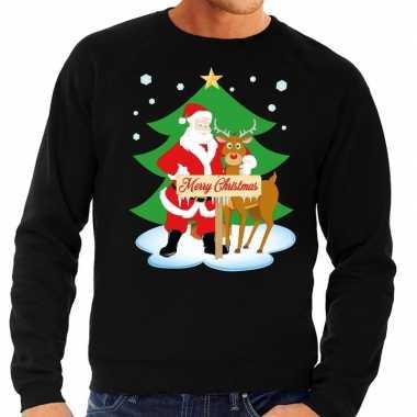 Feestwinkel | foute kersttrui zwart met de kerstman en rudolf voor he