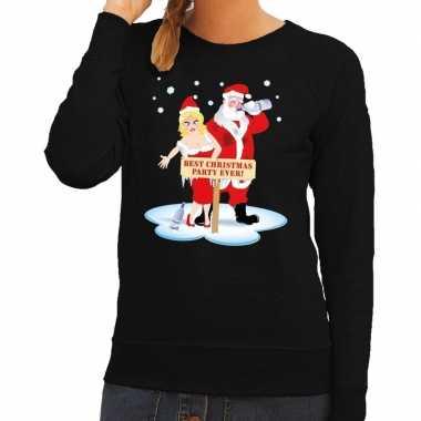 Feestwinkel   foute kersttrui zwart met een dronken kerstman en zijn