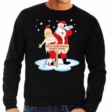 Feestwinkel | foute kersttrui zwart met een dronken kerstman en zijn