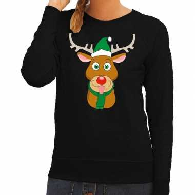 Feestwinkel | foute kersttrui zwart met ruldolf het rendier met groen