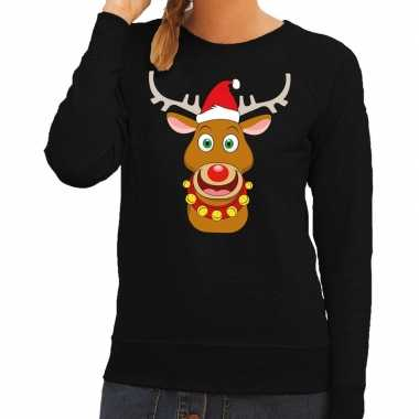 Feestwinkel   foute kersttrui zwart met ruldolf het rendier met rode
