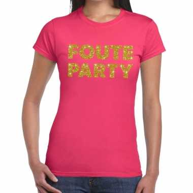 Feestwinkel | foute party fun t-shirt roze voor dames morgen amsterda
