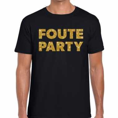 Feestwinkel | foute party gouden letters fun t-shirt zwart voor heren
