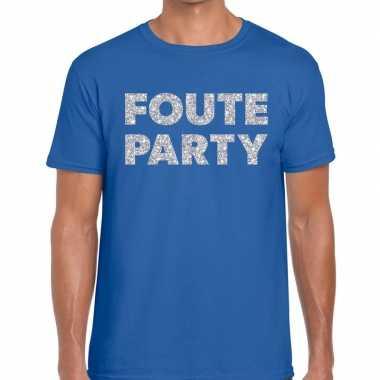 Feestwinkel | foute party zilveren letters fun t-shirt blauw voor her