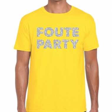 Feestwinkel | foute party zilveren letters fun t-shirt geel voor here