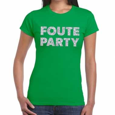 Feestwinkel | foute party zilveren letters fun t-shirt groen voor dam