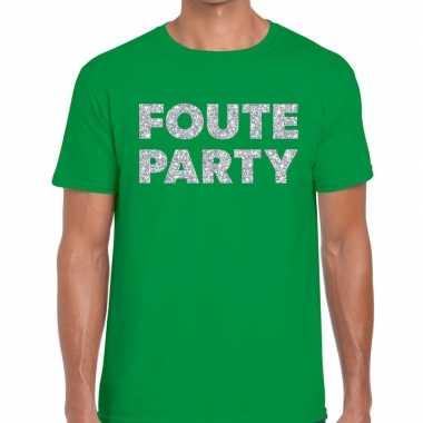 Feestwinkel | foute party zilveren letters fun t-shirt groen voor her