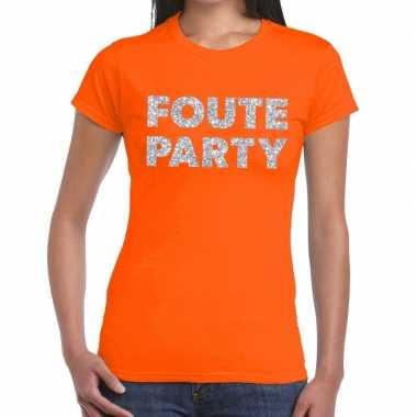 Feestwinkel | foute party zilveren letters fun t-shirt oranje voor da