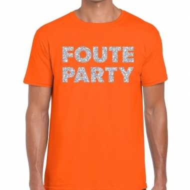 Feestwinkel | foute party zilveren letters fun t-shirt oranje voor he