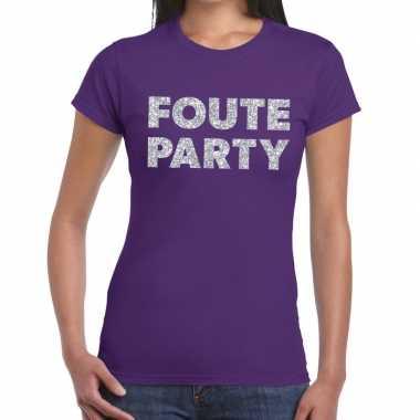 Feestwinkel | foute party zilveren letters fun t-shirt paars voor dam