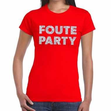 Feestwinkel | foute party zilveren letters fun t-shirt rood voor dame