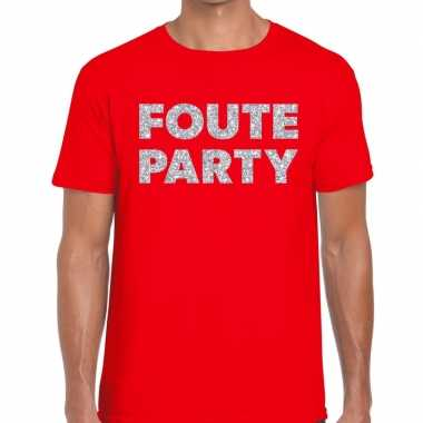 Feestwinkel | foute party zilveren letters fun t-shirt rood voor here