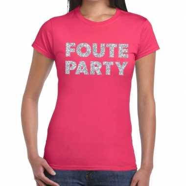 Feestwinkel | foute party zilveren letters fun t-shirt roze voor dame