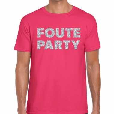 Feestwinkel | foute party zilveren letters fun t-shirt roze voor here
