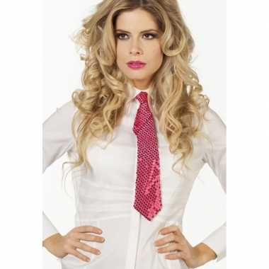Feestwinkel | fuchsia roze glitter vrijgezellenfeest verkleed stropda