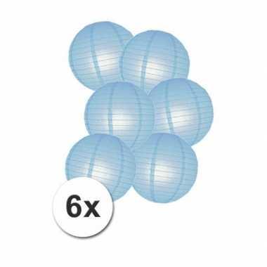 Geboorte versiering lampionnen blauw 6x