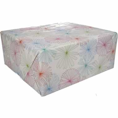 Feestwinkel | gekleurd cadeaupapier met bloemen 70 x 200 cm type 1 mo