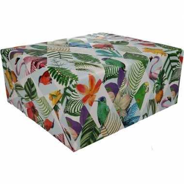 Feestwinkel   gekleurd cadeaupapier met papegaaien print 70 x 200 cm
