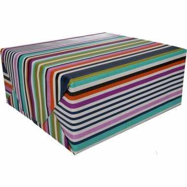 Feestwinkel | gekleurd cadeaupapier met strepen 70 x 200 cm type 7 mo