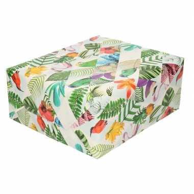 Feestwinkel | gekleurd cadeaupapier met tropische vogels 70 x 200 cm