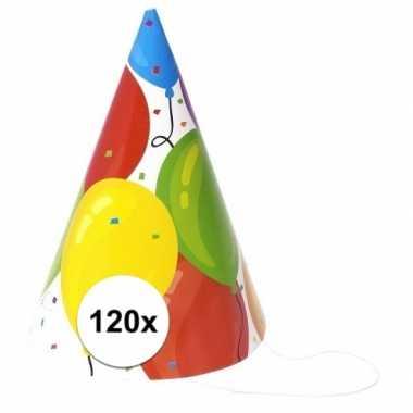 Feestwinkel | gekleurde ballonnen feesthoedjes 120 stuks morgen amste