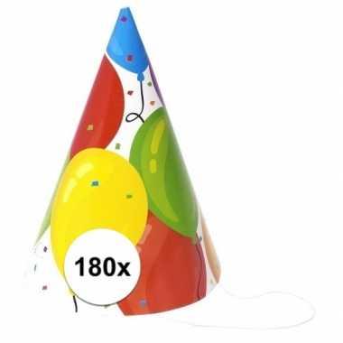 Feestwinkel | gekleurde ballonnen feesthoedjes 180 stuks morgen amste