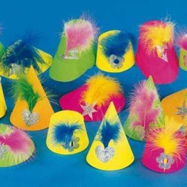 Feestwinkel | gekleurde feesthoedjes met veer morgen amsterdam