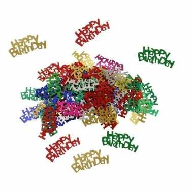 Feestwinkel   gekleurde happy birthday verjaardag confetti 60 gram mo
