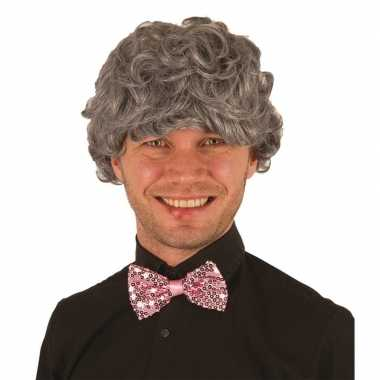 Feestwinkel | grijze opa pruik voor heren verkleed accessoire morgen