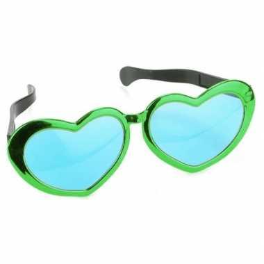 Feestwinkel | groene hartvormige xl verkleed bril voor volwassenen mo