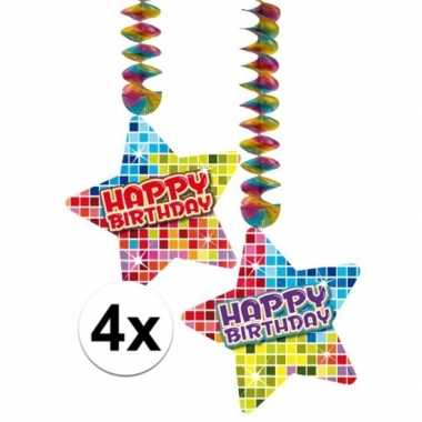 Feestwinkel | hangdecoraties happy birthday jaar 4 stuks morgen amste