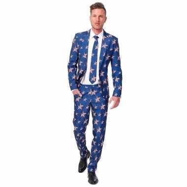 Heren kostuum met amerikaanse vlag print