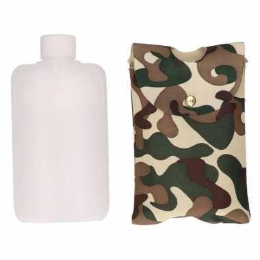 Heupflacon 350 ml met camouflage hoes