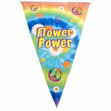 Feestwinkel | hippie feest vlaggenlijn flower power 5 meter morgen am