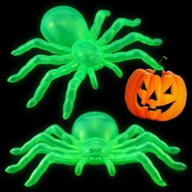 Feestwinkel | horror feest versiering glow in the dark spinnen 14 cm
