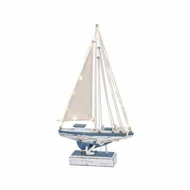 Feestwinkel | houten decoratie zeilboot met verlichting 43 cm morgen