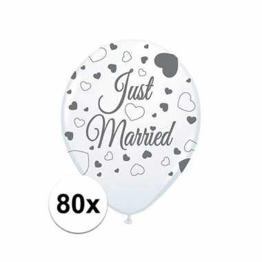Feestwinkel | just married bruiloft versiering balonnen 80x stuks mor