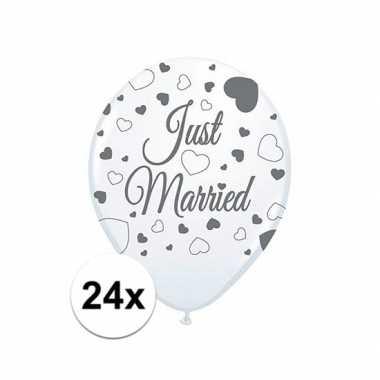 Feestwinkel   just marriedbruiloft versiering balonnen 24x stuks morg