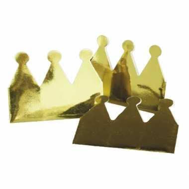 Kartonnen kroon goud 12x stuks