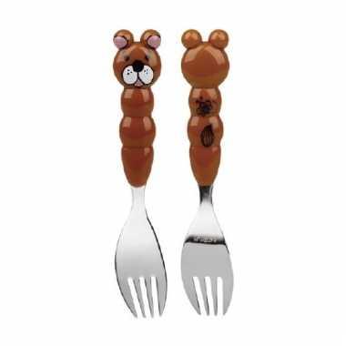 Kinder bestek vork beer