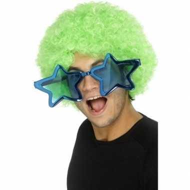 Kobalt blauwe stervormige xl verkleed bril voor volwassenen